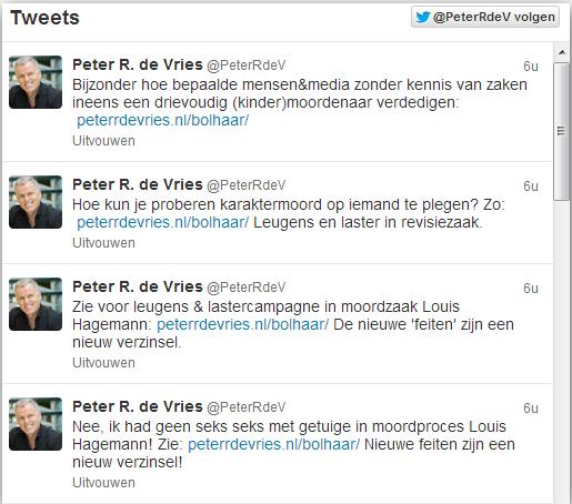 Actualiteit twitter  Peter R. de Vries